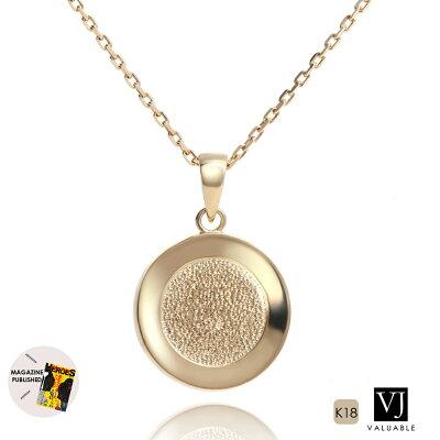 【ファッション誌に掲載】VJ【ブイジェイ】 K18 イエローゴールド メンズ テクスチャー コイン ペンダント キヘイ チェーンセット『Aセット』※チェーン長さ40cm.45cm.50cmから選択[k18 ネックレス 18k ネックレス 18金 ネックレス チャーム メダル]