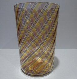 ベネチアガラス グラス クラッシーヴェネチアンガラス ベネチアン 棒グラス コップ リネアオレンジブラウン 贈り物 御祝
