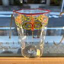 ベネチアガラス グラス クラッシーヴェネチアンガラス ベネチアン グラス コップ 6角ウォーターグラスエナメル彩フラワー