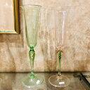 ベネチアガラス グラス クラッシーヴェネチアンガラス ベネチアン グラス シャンパン グラス 贈り物 御祝 ギフト ピンク ライトグリーン 特別セット
