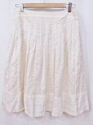ジバンシィ GIVENCHY ジバンシィ シルク混 ひざ丈フレアスカート 40 オフベージュ