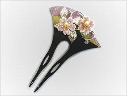 桜(かんざし) 舞妓気分簪かんざし黒ラメ塗ラメ桜 着物&浴衣髪飾り