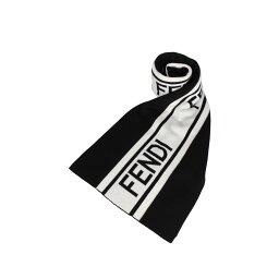 フェンディ 【最大600円クーポン】 FENDI MUFFLER フェンディ マフラー スカーフ メンズ レディース イタリア製 ウール ブラック 黒 FXS124ACHR