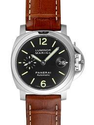 ルミノール 腕時計(メンズ) 【新品】パネライ PAM00048 ルミノール マリーナ SS/ブラウンレザー 40mm 自動巻き ブラック