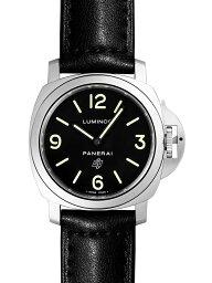 ルミノール 腕時計(メンズ) 【新品】パネライ PAM01000 ルミノール ベース ロゴ アッチャイオ SS/ブラックレザー ブラックダイアル 手巻き