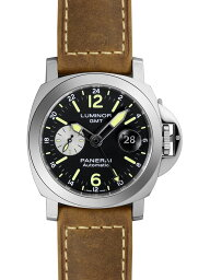 ルミノール 腕時計(メンズ) 【新品】パネライ PAM01088 ルミノール GMT オートマティック アッチャイオ 44ミリ SS/ブラウンレザー 自動巻き ブラックダイアル