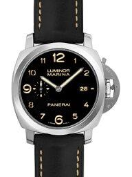 ルミノール 腕時計(メンズ) 【新品】パネライ PAM00359 ルミノール1950マリーナ スリーデイズ(3days) SS/レザー 44mm 自動巻き ブラックダイアル アラビア数字インデックス