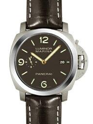ルミノール 腕時計(メンズ) 【新品】パネライ PAM00351 ルミノール1950マリーナ スリーデイズ(3days) チタン/レザー 44mm 自動巻き ブラウン シースルーバック
