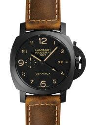 ルミノール 腕時計(メンズ) 【新品】パネライ PAM00441 ルミノール1950 3デイズ GMT チェラミカ セラミック/レザー 44mm ブラック 自動巻き シースルーバック