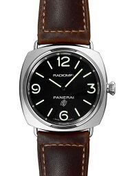 ラジオミール 腕時計(メンズ) 【新品】パネライ PAM00753 ラジオミール ベース ロゴ 3デイズ アッチャイオ 45ミリ SS/ブラウンレザー 手巻き ブラック