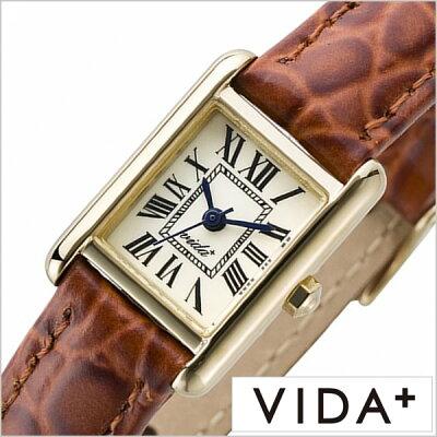 ヴィーダプラス腕時計 VIDA+時計 VIDA+ 腕時計 ヴィーダプラス 時計 ミニレクタンギュラー Mini Rectangular レディース アイボリー J83905-LE-BR [正規品 新作 防水 人気 革 レザー ベルト レクタンギュラー型 スクエア型 ゴールド ブラウン]