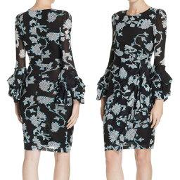 ダイアンフォンファステンバーグ ドレス ダイアンフォンファステンバーグ DVF ワンピース DIANE von FURSTENBERG 12294DVFFaridah Draped Mesh Dress (Sequin Flower Black) フローラル ドレス (ブラック)Faridah Draped Mesh Dress 新作 正規品 レディース アパレル 長袖 ワンピ 花柄