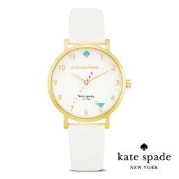 ケイトスペード ケイトスペード Kate Spade 腕時計 Metro 5 o'clock metro watch KSWB0765 レザー ストラップ 腕時計(ホワイト) ● It's 5 O'Clock Somewhere / Happy Hour Watch 34mm (White) 正規品 アメリカ買付 レディース 時計