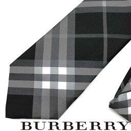 バーバリー ネクタイ BURBERRY ネクタイ バーバリー メンズ ブラックチェック柄 シルク 8009842-BLACK ブランド