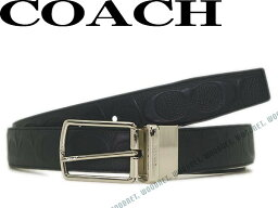 コーチ COACH コーチ ベルト シグネチャーロゴ柄 リバーシブル レザーブラック 64773-BKBK ブランド/メンズ/男性用