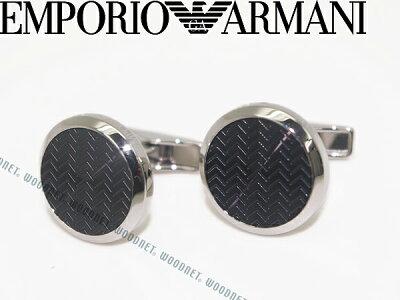 エンポリオアルマーニ シルバー×ブラックカーボン カフスボタン EMPORIO ARMANI アクセサリー EGS2226001 ブランド/メンズ/男性用