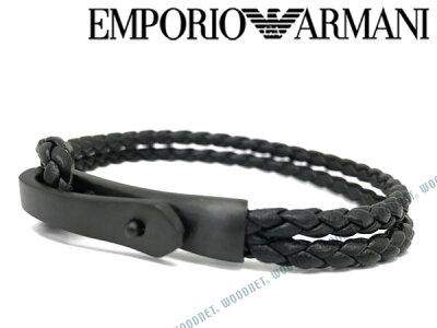 EMPORIO ARMANI ブレスレット エンポリオアルマーニ メンズ&レディース ブラック×マットブラック レザー EGS2477001 ブランド