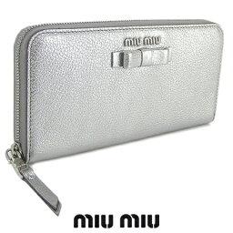 ミュウミュウ 財布(レディース) ミュウミュウ/MIU MIU レディース 長財布/サイフ MADRAS FIOCCO 5ML506 3R7 (シルバー/CROMO/F0135) ラウンドファスナー/miumiu/MADRAS FIOCCO/マドラス フィオッコ/SL