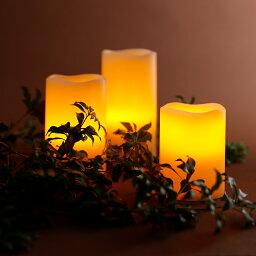 キャンドル ライト セット 高級LEDキャンドルライト 3点セット 電池式 自動点灯&消灯タイマー リモコン付き 寝室 間接照明 本物の蝋を使用 レビュー特典 WY