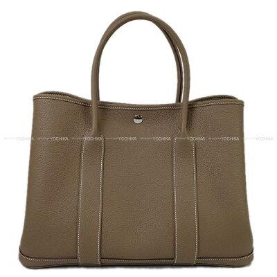 【ご褒美に★】HERMES エルメス トートバッグ ガーデンパーティ 36 PM エトープ (エトゥープ) ネゴンダ(オールレザー型押し) シルバー金具 新品 (HERMES Handbag Garden Party Bag 36 PM Etoupe Negonda SHW [Brand new][Authentic])【あす楽対応】#よちか
