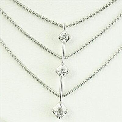 (あす楽)【限定1本】TASAKI トリロジー K18WG 3ストーン ダイヤモンドネックレス トータル0.30ct【送料無料】【ギフト】【包装】【クリスマス】10P04Mar19