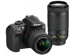nikon ニコン デジタル一眼カメラ D3400 ダブルズームキット [ブラック] [タイプ:一眼レフ 画素数:2472万画素(総画素)/2416万画素(有効画素) 撮像素子:APS-C/23.5mm×15.6mm/CMOS 連写撮影:5コマ/秒 重量:395g]