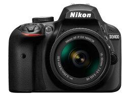 nikon 【ポイント5倍】ニコン デジタル一眼カメラ D3400 18-55 VR レンズキット [ブラック] [タイプ:ハンディカメラ ハイビジョン対応:フルハイビジョン 撮影時間:290分 本体重量:295g 撮像素子:CMOS 1/5.8型 動画有効画素数:229万画素]
