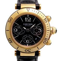 カルティエ パシャ 腕時計(メンズ) 【ポイント5倍 4/1〜4/4 要エントリー】 カルティエ CARTIER パシャ シータイマー クロノグラフ W3030017 ブラック文字盤 メンズ 腕時計 【新品】