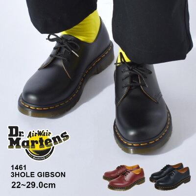 【最大500円OFFクーポン】ドクターマーチン 3ホール ギブソン メンズ レディース Dr.Martens 1461 黒 赤 ブラック レッド 3HOLE GIBSON 1461 靴 シューズ レザー プレーントゥ UK3 UK4 UK5 UK6 UK7 UK8 UK9 UK10 11838002 送料無料