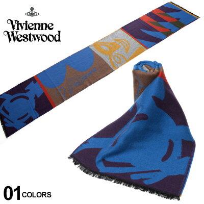 ヴィヴィアンウエストウッド Vivienne Westwood シルク混 総柄 フリンジ付き マフラー メンズ レディース ブランド VWW22636A5116