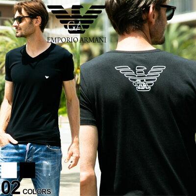 エンポリオアルマーニ EMPORIO ARMANI Tシャツ 胸ロゴ Vネック 半袖 アンダーTシャツ ブランド メンズ カジュアル EA110810CC735