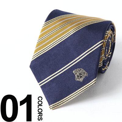 ヴェルサーチ VERSACE ネクタイ シルク メデューサ イエロー ストライプ ブランド メンズ 紳士 ビジネス 雑貨 VC03300005
