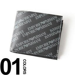 アルマーニ 財布(メンズ) 【無料クリスマスラッピング対象】 エンポリオアルマーニ EMPORIO ARMANI 二つ折り財布 総ロゴ ハーフウォレット ブランド メンズ サイフ EAY4R167YLO7E