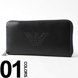 アルマーニ 財布(メンズ) エンポリオアルマーニ EMPORIO ARMANI 長財布 ラウンドジップ ロゴ 型押し ロングウォレット ブランド メンズ サイフ EAY4R169YG90J