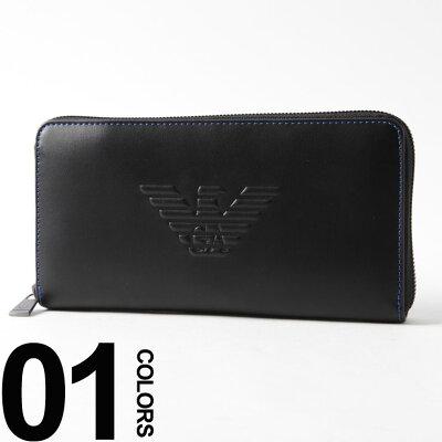 エンポリオアルマーニ EMPORIO ARMANI 長財布 ラウンドジップ ロゴ 型押し ロングウォレット ブランド メンズ サイフ EAY4R169YG90J