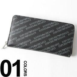 アルマーニ 財布(メンズ) エンポリオアルマーニ EMPORIO ARMANI 長財布 ラウンドジップ 総ロゴ ロングウォレット ブランド メンズ サイフ EAY4R169YLO7E