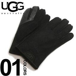 アグ オーストラリア 手袋(メンズ) バレンタインクーポン対象 アグ オーストラリア UGG Australia ロゴ シープスキン グローブ ブランド メンズ 手袋 UGG17681