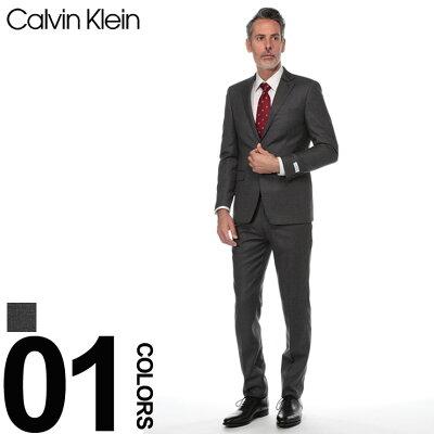 カルバン クライン Calvin Klein スーツ シングル 2ツ釦 2B SLIM FIT スリムフィット ブランド メンズ ビジネス ウール ストライプ CK5KX0175