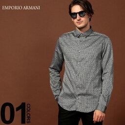 エンポリオ・アルマーニ エンポリオ アルマーニ EMPORIO ARMANI シャツ 長袖 ロゴ レギュラーカラー ブランド メンズ トップス 総柄 コットン ストレッチ EA6G1C091N73Z