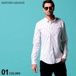 エンポリオ・アルマーニ エンポリオ アルマーニ メンズ シャツ 長袖 EMPORIO ARMANI コットン ストレッチ ロゴ ストライプ プリント 白シャツ ブランド トップス EA3H1C091N86Z